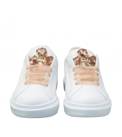 Sneakers bianchi con strass